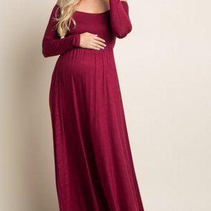Pinkblush Burgundy Solid Off Shoulder Maxi Dress
